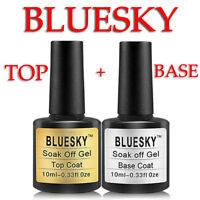 SET! Bluesky Top Coat and Base Coat 10ml bottle UV Gel Polish ORIGINAL