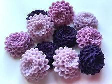 12 Edible Sugar Purple, Lavender & Lilac Chrysanthemums Flower Cake Decorations