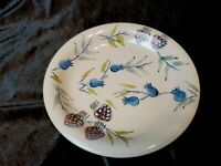 "Artist's Touch Stoneware Summer Splendor 7 1/4"" Salad Plate Ivory Blue Purple"