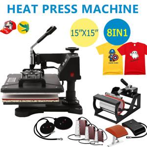 "8 in1 Heat Press Machine 360°Swing T-Shirt Hat Mug Printing Press 15x15"" USA"