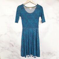 LuLaRoe Womens NWT Nicole Blue Purple Dress Size XS