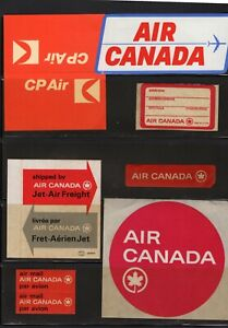 AIR CANADA  (7) AIRLINE BAGGAGE LABEL ID TAGS, ETIQUETTES , ORIG'L