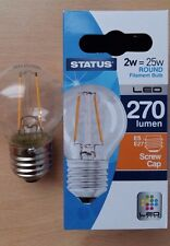 4 x 2w LED Round Clear Filament Light Bulb Lamp ES Screw In E27 25w Great Value!