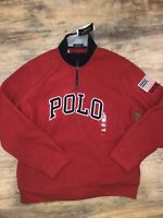 New Polo Ralph Lauren USA Fleece Half Zip Jacket Size XXL Red Embroidered Flag