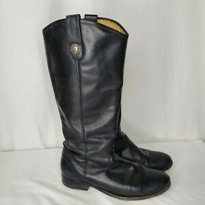 Frye Leather Riding Boots Melissa Button Black 8.5 Equestrian Style Comfort