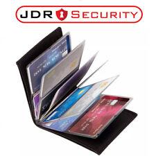 Funda tipo Billetera delgada RFID Bloqueo De Maravilla Negro Cuero Billetera Tarjetas 24 UK