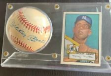 Mickey Mantle AutographedSigned American League Baseball with 1952 Reprint card