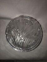 Vintage Clear Glass Lidded Trinket Vanity Powder Box w/ Lid Tulips Flowers