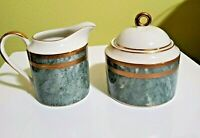 RARE! Mikasa Jade Florentine sugar bowl and creamer