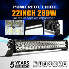 22INCH 280W Curved LED Work Light Bar Spot Flood 4WD Boat Driving Truck Offroad