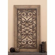 Rustic French Country Scrolling Wood Metal Window Style Wall Panel Art Sculpture