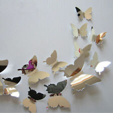 Arrive Mirror Sliver 3D Butterfly Wall Stickers Party  0078