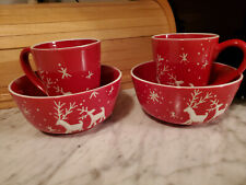 Holiday Christmas Cups, Bowls Red White Snowflakes Reindeer SIA Home Fashion 4pc