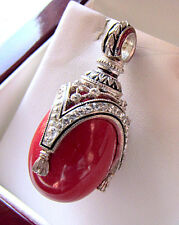 SALE ! BEAUTIFUL PENDANT HANDMADE OF SOLID STERLING SILVER 925 w/ GENUINE CORAL