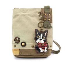 766d1794b7 New Chala Patch Crossbody Bag Canvas gift Messenger Sand Beige Boston  Terrier