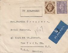 Worldwide stamp covers, 1930's Airmail cover from Great Britain to US
