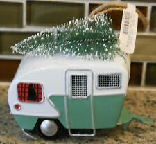 New Pottery Barn Tin CAMPER WITH CHRISTMAS TREE Christmas Holiday Ornament