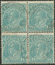 KGV - Sml Multi Wmk Perf. 13½ x 12½: 1/4 Greenish-Blue, commercially used block