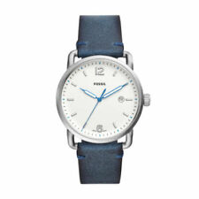 FOSSIL The Commuter Three-Hand Date Blue Leather 42mm Men's Watch FS5432 NEW!!