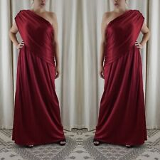 Mary McFadden Vintage 70s One Shoulder Draped Goddess Tunic Gown Red Dress S M