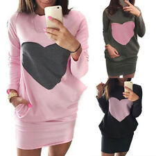 Women Fashion Heart Print Sweatshirts Dresses Double Pocket Long Sleeve Dress GT