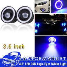 2pcs 3.5'' Car Head Lamp Projector LED Fog Light Blue COB Halo Angel Eye Ring