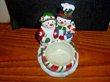 Yankee Candle Mr. and Mrs. Snowman Couple Tea Light Candle Holder  NEW