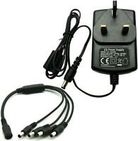 PACE 12V 2A Power Supply Adapter with 4 Splitter for CCTV Security Camera DVR