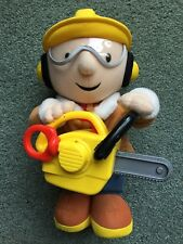 """Bob the Builder With Chainsaw 14"""" Plush Interactive Works 2002 Playskool Rare"""