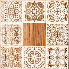 Pack of 8 Mandala Floor Painting Stencils Set (6x6 Inch)