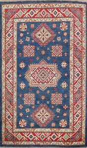 Geometric Super Kazak Oriental Area Rug Vegetable Dye Handmade Wool 3x5 Carpet