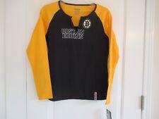 Reebok Boston Bruins NHL sz L black and yellow cotton blend long sleeve tee NWT