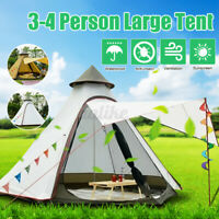 380*330*240CM Large Waterproof Double Layer Family Tent Teepee Camping Outdoor
