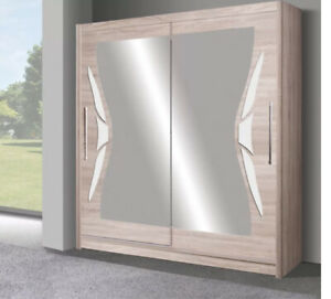 2 Door Sliding Wardrobe. Oak Sonoma/White Gloss/Mirror. DO8-15.DOME.BRAND NEW.
