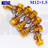 M12X1.5 Engine Magnetic Oil Pan Drain Plug Bolt Kit Crush Washer Nut Gold 10Ps