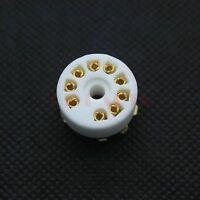 6PCS GOLD PLATED 9pin B9A PCB mount tube socket for 12AX7 ECC83 12AT7/ 6DJ8 6922