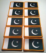 10 PAKISTAN Flag BIKER  Iron On Patch   Emblem Gold  Border