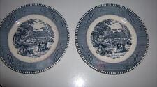 """Harvest Scene Salad / Bread Plates 6.5"""" Blue White Patterned Trim Set of 2"""