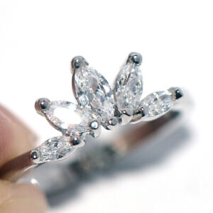 Flower Rings Crystal CZ Fashion Rings Silver White Gold Rings for Womens Size 6
