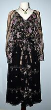 Vintage long Black Floral Victorian Steampunk 70's BOHO DRESS S/M 4/6 Formal WOW