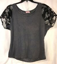 GOLDIE L Gray Semi Sheer Burnout T SHIRT Top Tee Black Lace Sleeves Cotton Blend