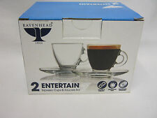 New Ravenhead Espresso Cups And Saucers Pk2 Glass  0041.603