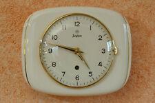 Alte Junghans Küchenuhr Keramik 50er Vintage weiß Goldrand