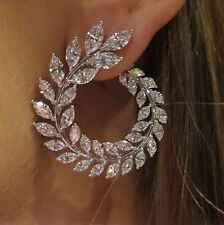 14k White Gold Cuff Earrings made w/ Swarovski Crystal Clear Bling Stone Trendy