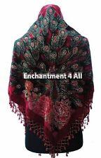 Stunning Handmade Beaded Triangular 100% Silk Velvet PEACOCK Scarf Wrap,Burgundy
