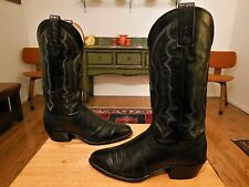 Vtg J. CHISHOLM Men's Black Leather & Lizard Western Cowboy Boots  8.5D   USA