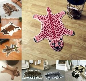 Tiger Printed Rug Leopard Cowhide Faux Skin Leather Nonslip Mat