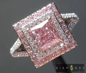 .96ct Natural Purplish Pink Princess Cut Diamond Ring R6913 Diamonds by Lauren