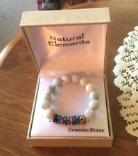 NATURAL ELEMENTS GENUINE STONE STRETCH BRACELET – MULTICOLOR  - NEW IN BOX
