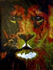 Peinture Lion dans l'ombre - animaux félin Art contemporain tableau déco moderne